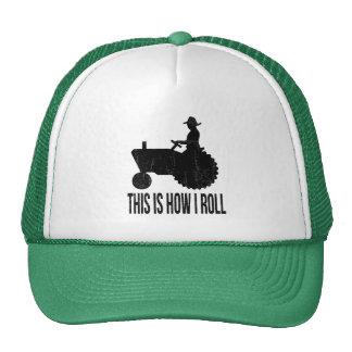 El granjero en el tractor esto es cómo RUEDO Gorros Bordados
