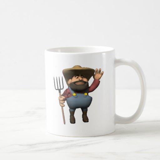 el granjero está aquí taza