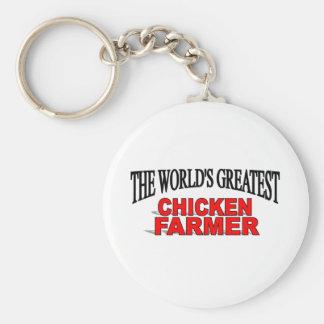 El granjero más grande del pollo del mundo llaveros