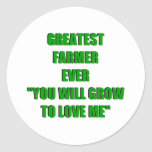 El granjero más grande nunca etiqueta redonda