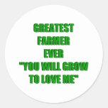 El granjero más grande nunca pegatina redonda