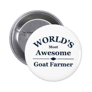 El granjero más impresionante de la cabra del mund pin redondo de 2 pulgadas