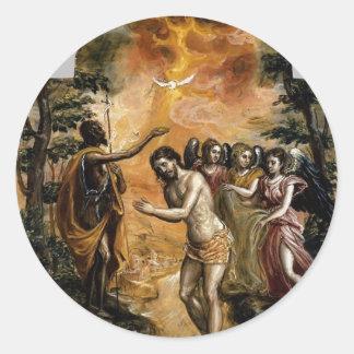 El Greco- Baptism of Christ Round Sticker