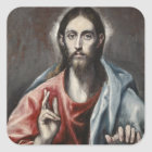 El Greco - Christ Blessing Square Sticker