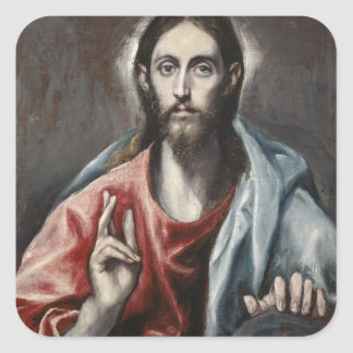 El Greco - Christ Blessing Square Stickers