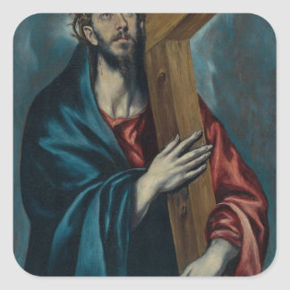 El Greco - Christ Carrying the Cross Square Stickers