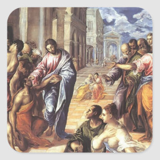 El Greco- Christ healing the blind Square Sticker