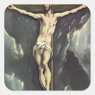 El Greco- Christ on a cross Square Sticker