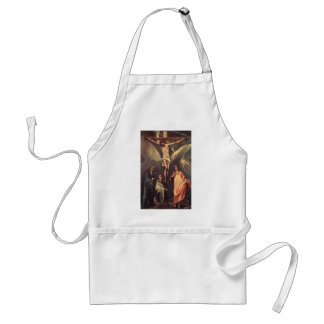 El Greco-Christ on the cross with Maries,St. John Adult Apron
