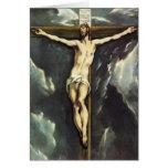 El Greco Cristo en la tarjeta de felicitación cruz