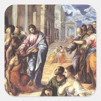 EL Greco- Cristo que cura a las persianas Pegatina Cuadrada