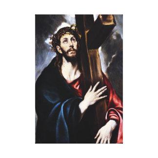El Greco Cristo que lleva el abrigo cruzado de la  Lienzo Envuelto Para Galerías