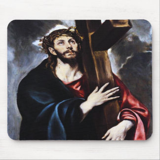 El Greco Cristo que lleva el cojín de ratón cruzad Alfombrilla De Ratón