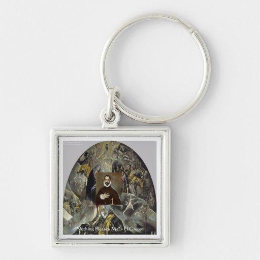 """El Greco """"entierro regalos y camisetas de la conde Llavero Cuadrado Plateado"""