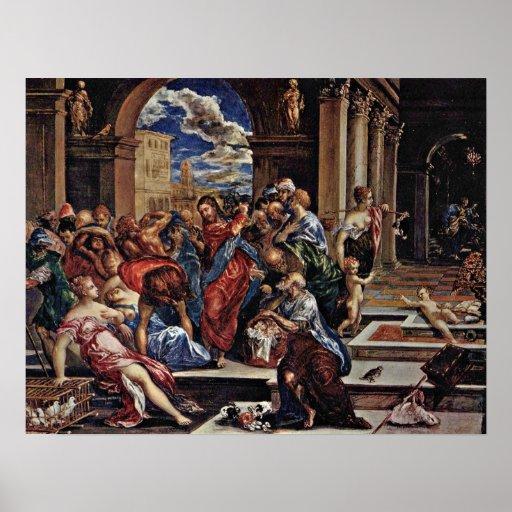 El Greco - expulsión del comerciante Poster
