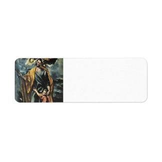 EL Greco- San José y el niño de Cristo Etiqueta De Remitente