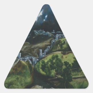 El Greco View of Toledo Triangle Stickers