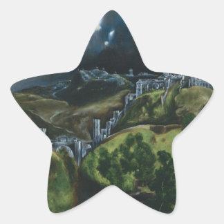 El Greco View of Toledo Star Stickers