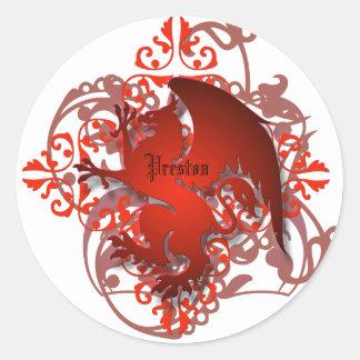 El grifo rojo de la fantasía urbana añade a los pegatina redonda
