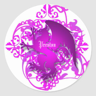 El grifo urbano del rosa de la fantasía añade a pegatina redonda