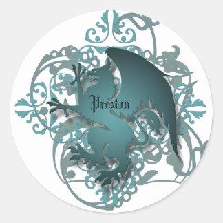 El grifo urbano del trullo de la fantasía añade a pegatina redonda