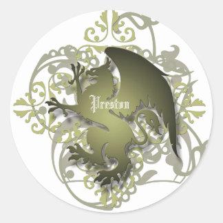 El grifo verde oliva de la fantasía urbana añade a pegatina redonda