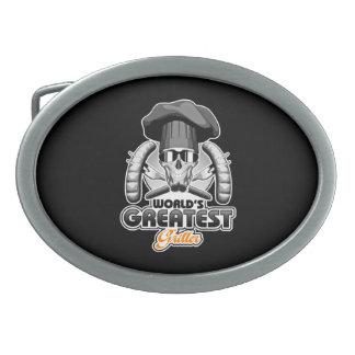 El Griller más grande v7 del mundo Hebilla De Cinturón Oval
