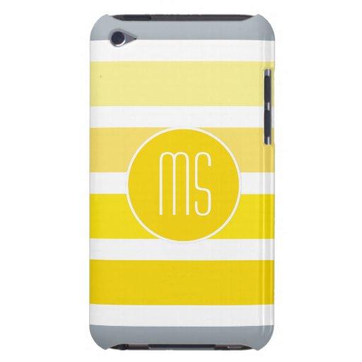 El gris amarillo raya el monograma iPod Case-Mate cárcasas