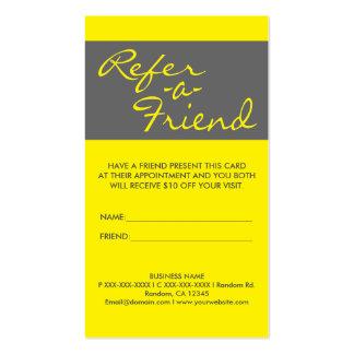 El gris amarillo simple vertical refiere tarjetas tarjetas de visita