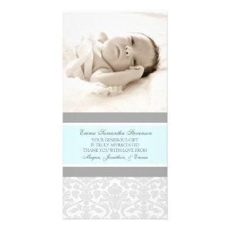 El gris azul le agradece las tarjetas de la foto d tarjetas personales con fotos