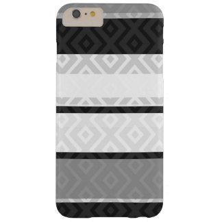 El gris blanco negro raya el modelo geométrico del funda de iPhone 6 plus barely there