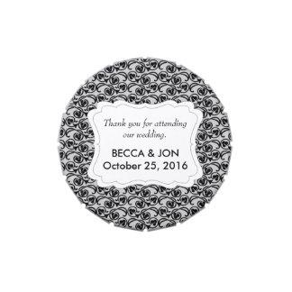El gris con el boda negro del modelo del remolino latas de caramelos