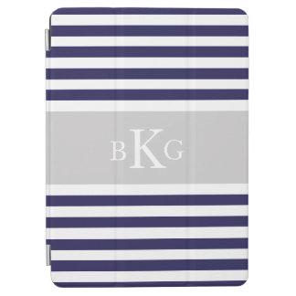 El gris de azules marinos raya el monograma de cubierta de iPad air