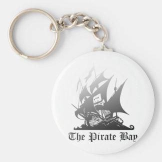 El gris de la bahía del pirata al negro llavero redondo tipo pin