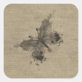 El gris de moda lindo fresco salpica la mariposa pegatina cuadrada