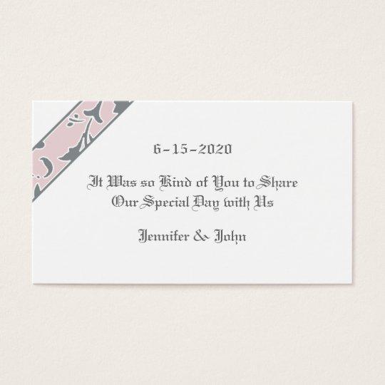 El gris del estaño, se ruboriza rosa, etiqueta del tarjetas de visita