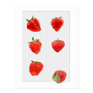 El gris descendente de las fresas raya la postal