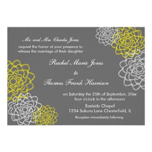 El gris/el casarse bosquejado amarillo de las flor anuncio