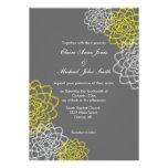 El gris/el casarse bosquejado amarillo de las flor invitacion personalizada