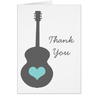 El gris/el corazón de la guitarra de la aguamarina tarjeta pequeña