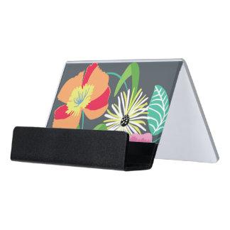 El gris florece el tenedor de la tarjeta de visita caja de tarjetas de visita para escritorio