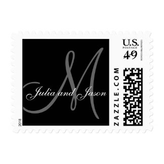El gris negro nombra el boda inicial del monograma envio