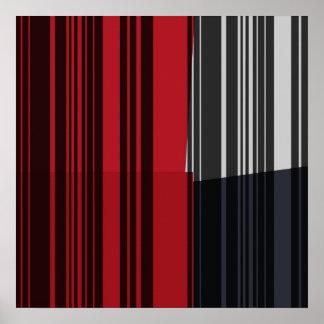 El gris negro rojo del vintage raya el poster del