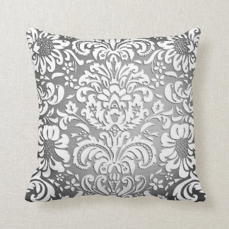 El gris real rico del damasco se descolora almohadas