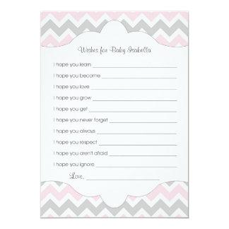 """El gris rosado desea para el bebé/la gran idea de invitación 5"""" x 7"""""""