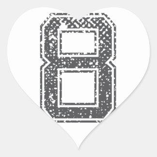 El gris se divierte el jersey #8 pegatina en forma de corazón