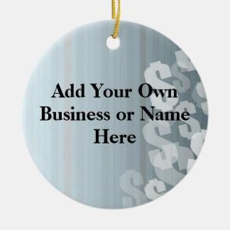 El gris sombrea diseño financiero de las muestras adorno navideño redondo de cerámica