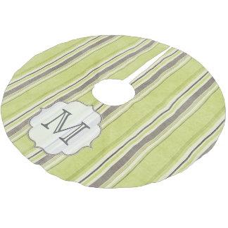El gris verde raya la falda inicial del árbol del falda para arbol de navidad de poliéster