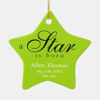 El gris verde una estrella es invitación nacida adorno navideño de cerámica en forma de estrella
