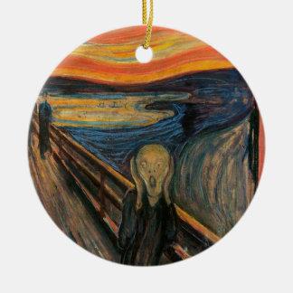El grito de Edvard Munch Adorno Navideño Redondo De Cerámica